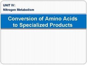 UNIT IV Nitrogen Metabolism Conversion of Amino Acids
