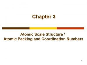 Chapter 3 Atomic Scale Structure Atomic Packing and