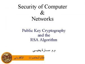 Security of Computer Networks Public Key Cryptography and
