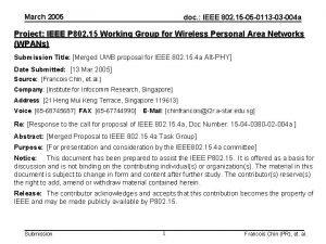 March 2005 doc IEEE 802 15 05 0113