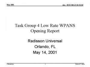 May 2001 doc IEEE 802 15 01213 r