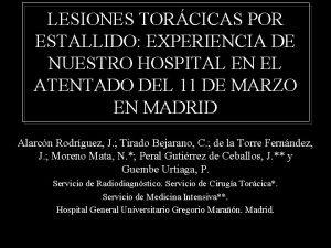 LESIONES TORCICAS POR ESTALLIDO EXPERIENCIA DE NUESTRO HOSPITAL