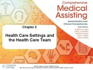 Chapter 2 Health Care Settings and the Health