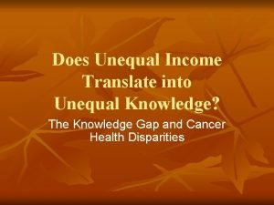 Does Unequal Income Translate into Unequal Knowledge The