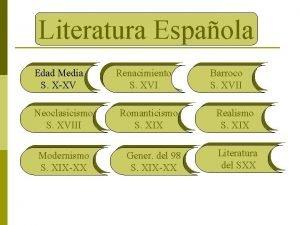 Literatura Espaola Edad Media S XXV Neoclasicismo S