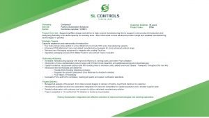 Company Service Sector Company 1 Factory Automation Solutions