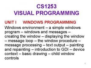 CS 1253 VISUAL PROGRAMMING UNIT I WINDOWS PROGRAMMING