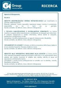RICERCA Agenzia di Borgosesia Ricerca ADDETTI ASSEMBLAGGIO OPERAI
