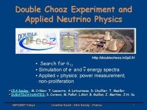 Double Chooz Experiment and Applied Neutrino Physics http