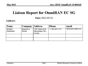 May 2013 doc IEEE Omni RAN130043 r 0