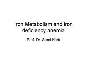 Iron Metabolism and iron deficiency anemia Prof Dr