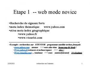 Etape 1 web mode novice Recherche de signaux