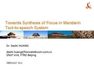 Towards Synthesis of Focus in Mandarin Texttospeech System