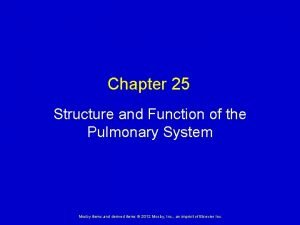 Chapter 25 Structure and Function of the Pulmonary