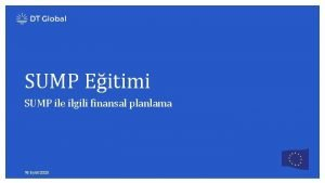 SUMP Eitimi SUMP ile ilgili finansal planlama 18