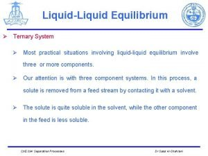 LiquidLiquid Equilibrium Ternary System Most practical situations involving