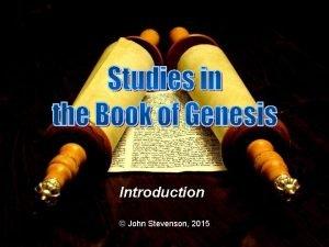 Introduction John Stevenson 2015 Dr John T Stevenson