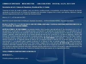 CMARA DE DIPUTADOS MESA DIRECTIVA LVIII LEGISLATURA OFICIO