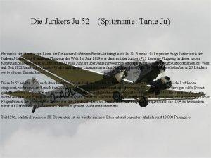 Die Junkers Ju 52 Spitzname Tante Ju Herzstck