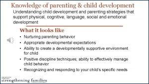 Knowledge of parenting child development Understanding child development
