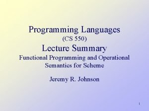 Programming Languages CS 550 Lecture Summary Functional Programming