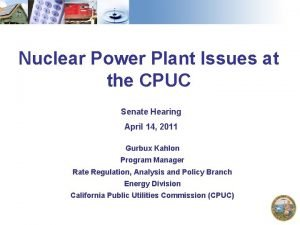 Nuclear Power Plant Issues at the CPUC Senate