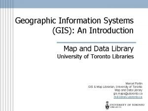 Geographic Information Systems GIS An Introduction Map and