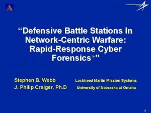 Defensive Battle Stations In NetworkCentric Warfare RapidResponse Cyber