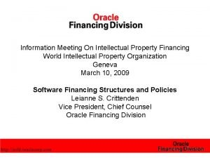 Information Meeting On Intellectual Property Financing World Intellectual