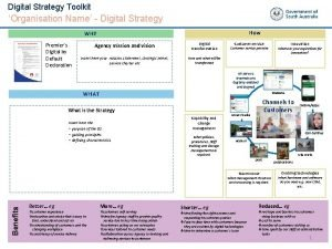 Digital Strategy Toolkit DRAFT Organisation Name Digital Strategy