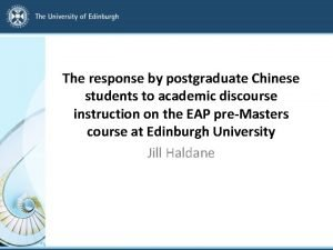 The response by postgraduate Chinese students to academic