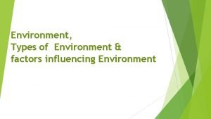 Environment Types of Environment factors influencing Environment What
