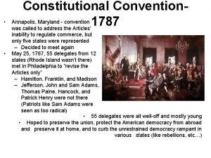 Constitutional Convention Annapolis Maryland convention 1787 was called