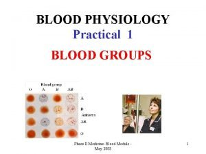 BLOOD PHYSIOLOGY Practical 1 BLOOD GROUPS Phase II