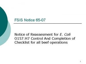 FSIS Notice 65 07 Notice of Reassesment for