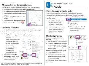 Rujukan Pantas Lync 2013 Menggunakan kawalan panggilan audio