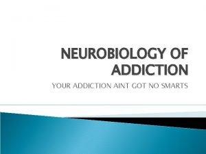 NEUROBIOLOGY OF ADDICTION YOUR ADDICTION AINT GOT NO