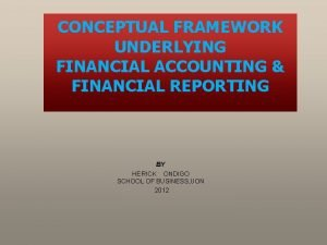 CONCEPTUAL FRAMEWORK UNDERLYING FINANCIAL ACCOUNTING FINANCIAL REPORTING BY