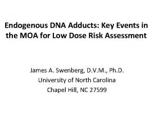 Endogenous DNA Adducts Key Events in the MOA