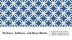 Learn how to use prefixes suffixes and base