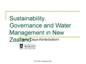 Sustainability Governance and Water Management in New Trevor