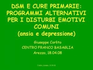 DSM E CURE PRIMARIE PROGRAMMI ALTERNATIVI PER I