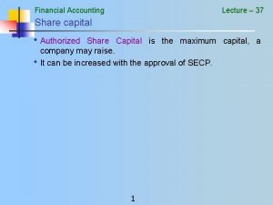 Financial Accounting Lecture 37 Share capital Authorized Share