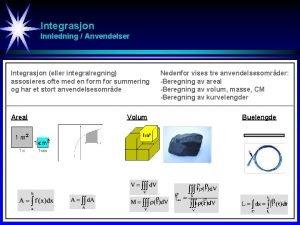 Integrasjon Innledning Anvendelser Integrasjon eller integralregning assosieres ofte