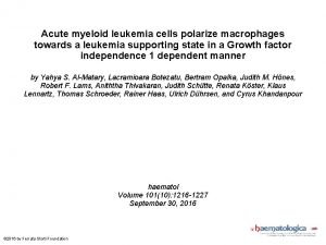 Acute myeloid leukemia cells polarize macrophages towards a