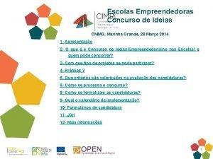 Escolas Empreendedoras Concurso de Ideias CMMG Marinha Grande