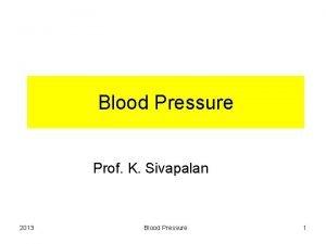 Blood Pressure Prof K Sivapalan 2013 Blood Pressure