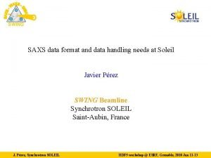 SWING SAXS data format and data handling needs