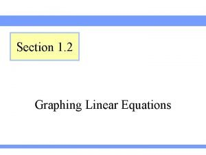 Section 1 2 Graphing Linear Equations Definition of