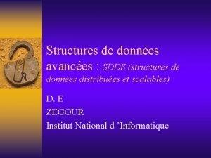 Structures de donnes avances SDDS structures de donnes